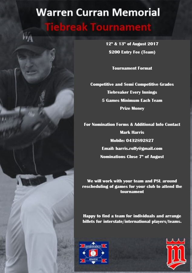 2017 - Warren Curran Memorial Tournament - Hosted by Bayswater Morley Softball Club